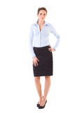 Attractive businesswoman in blue shirt and skirt Royalty Free Stock Photography