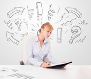 Attractive businesswoman brainstorming with drawn arrows Stock Photos