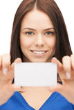 Attractive businesswoman with business card Stock Photos