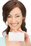 Attractive businesswoman with business card royalty free stock photos