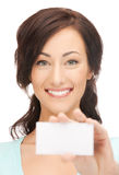 Attractive businesswoman with business card Royalty Free Stock Images
