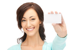 Attractive businesswoman with business card Stock Image