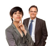 Attractive Businesswoman and Businessman on White Royalty Free Stock Photos