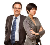 Attractive Businesswoman and Businessman on White Royalty Free Stock Photography