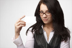 Attractive businesswoman with bussines card Stock Images
