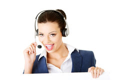 Attractive businesswoman on call centre. Royalty Free Stock Photos