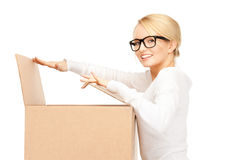 Attractive businesswoman with cardboard box Stock Photo