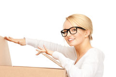 Attractive businesswoman with cardboard box Stock Photos