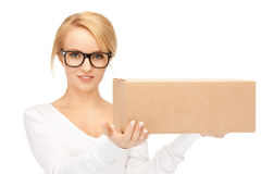 Attractive businesswoman with cardboard box Royalty Free Stock Images