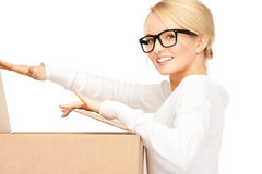 Attractive businesswoman with cardboard box Royalty Free Stock Image