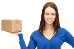Attractive businesswoman with cardboard box Stock Image