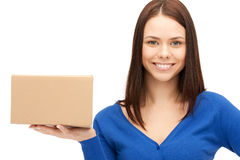 Attractive businesswoman with cardboard box Stock Photography