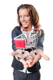 Attractive businesswoman with  cart Stock Photography
