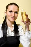 attractive businesswoman celebrating Royalty Free Stock Photography