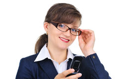 Attractive businesswoman with cellphone Royalty Free Stock Photos