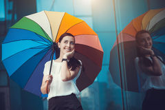 Attractive Businesswoman in the city Stock Images