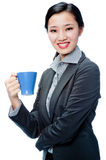 An attractive businesswoman with cup Royalty Free Stock Image