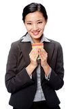 An attractive businesswoman with cup Royalty Free Stock Photos
