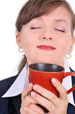 Attractive businesswoman with a cup of coffee Royalty Free Stock Images