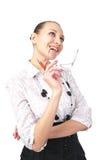 Attractive businesswoman dreams stock photos