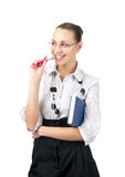 Attractive businesswoman dreams stock photo