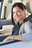 Attractive businesswoman drive luxury car Stock Image