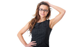 Attractive businesswoman in elegant dress Stock Photos