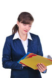Attractive businesswoman with folders Royalty Free Stock Photos