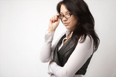 Attractive businesswoman in glasses. Isolated on white Royalty Free Stock Photography