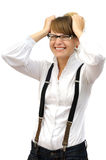 Attractive businesswoman in great panic Royalty Free Stock Photos