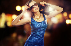 Attractive businesswoman before great party Royalty Free Stock Images