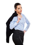 Attractive businesswoman handle jacket Royalty Free Stock Photos