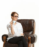 Attractive businesswoman have a coffee break. The attractive businesswoman have a coffee break Stock Images