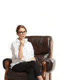 Attractive businesswoman have a coffee break. The attractive businesswoman have a coffee break Stock Photo