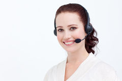 Attractive businesswoman with a headset on Stock Image