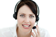Attractive businesswoman with headset on Royalty Free Stock Photography