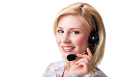 Attractive businesswoman with headset royalty free stock photo
