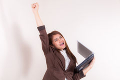 Attractive Businesswoman With Her Arms in The Air for Success Royalty Free Stock Photography