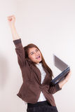 Attractive Businesswoman With Her Arms in The Air for Success Stock Photography