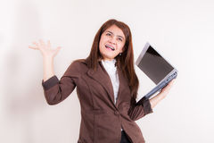Attractive Businesswoman With Her Arms in The Air for Success Royalty Free Stock Photo