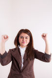 Attractive Businesswoman With Her Arms in The Air for Success Royalty Free Stock Image