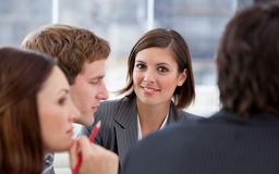 Attractive businesswoman and her team Royalty Free Stock Photography