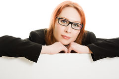 Attractive businesswoman  holding blank Stock Images