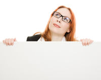 Attractive businesswoman  holding blank Royalty Free Stock Photo