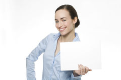 Attractive businesswoman holding a blanket card Royalty Free Stock Photos
