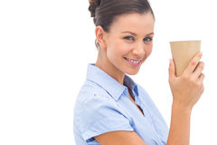 Attractive businesswoman holding a coffee cup Royalty Free Stock Photo