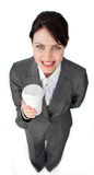 Attractive businesswoman holding a drinking cup Royalty Free Stock Photo