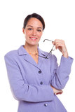 Attractive businesswoman holding glasses portrait. stock photos