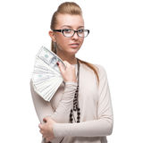 Attractive businesswoman holding money Stock Image