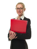 Attractive businesswoman holding a red folder Stock Photos